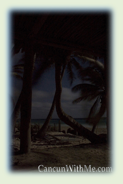 Picture taken a windy evening at Tulum beach, in playa esperanza a magical campground